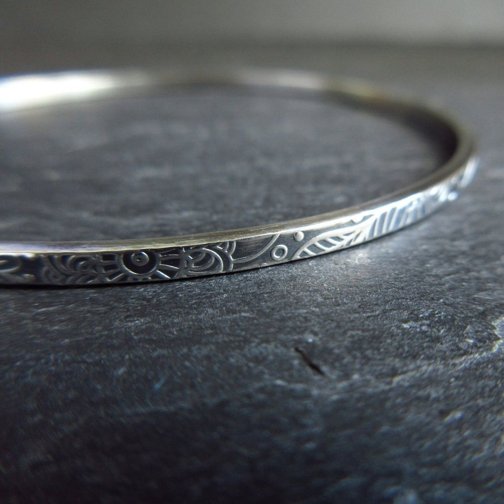 Sterling Silver Bangle with Embossed Doodle Pattern and Oxidized Finish