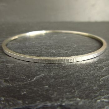 Sterling Silver Bangle with Hammered Bark Texture - Ladies Medium Size
