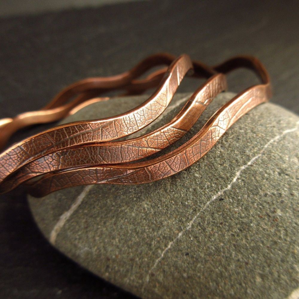 Wavy Copper Bangles with Leaf Vein Texture - Copper Wedding Anniversary Gif