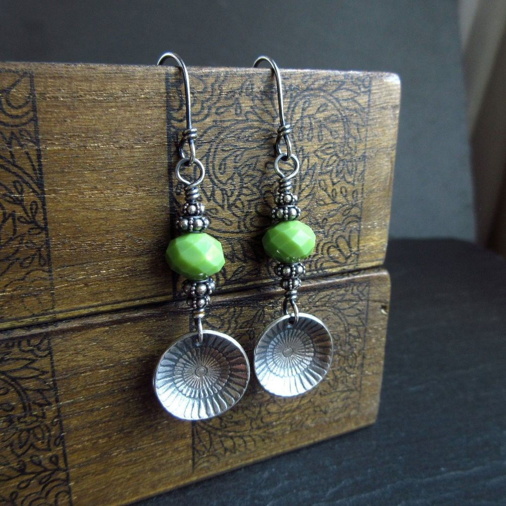 Sterling Silver Earrings with Green Glass Bead and Silver Disc