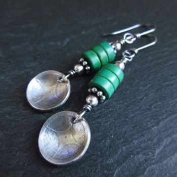 Sterling Silver and Green Bead Earrings with Silver Disc