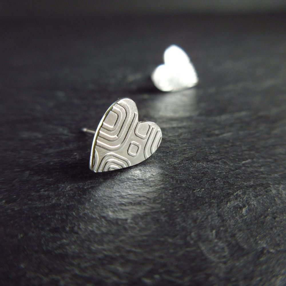 Heart Shape Sterling Silver Studs with Retro Style Square Pattern