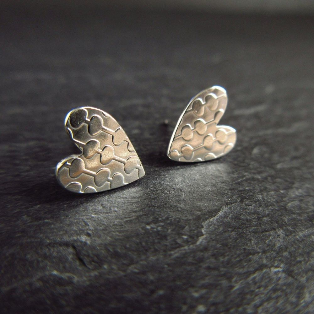 Modern Patterned Sterling Silver Stud Earrings - Hearts
