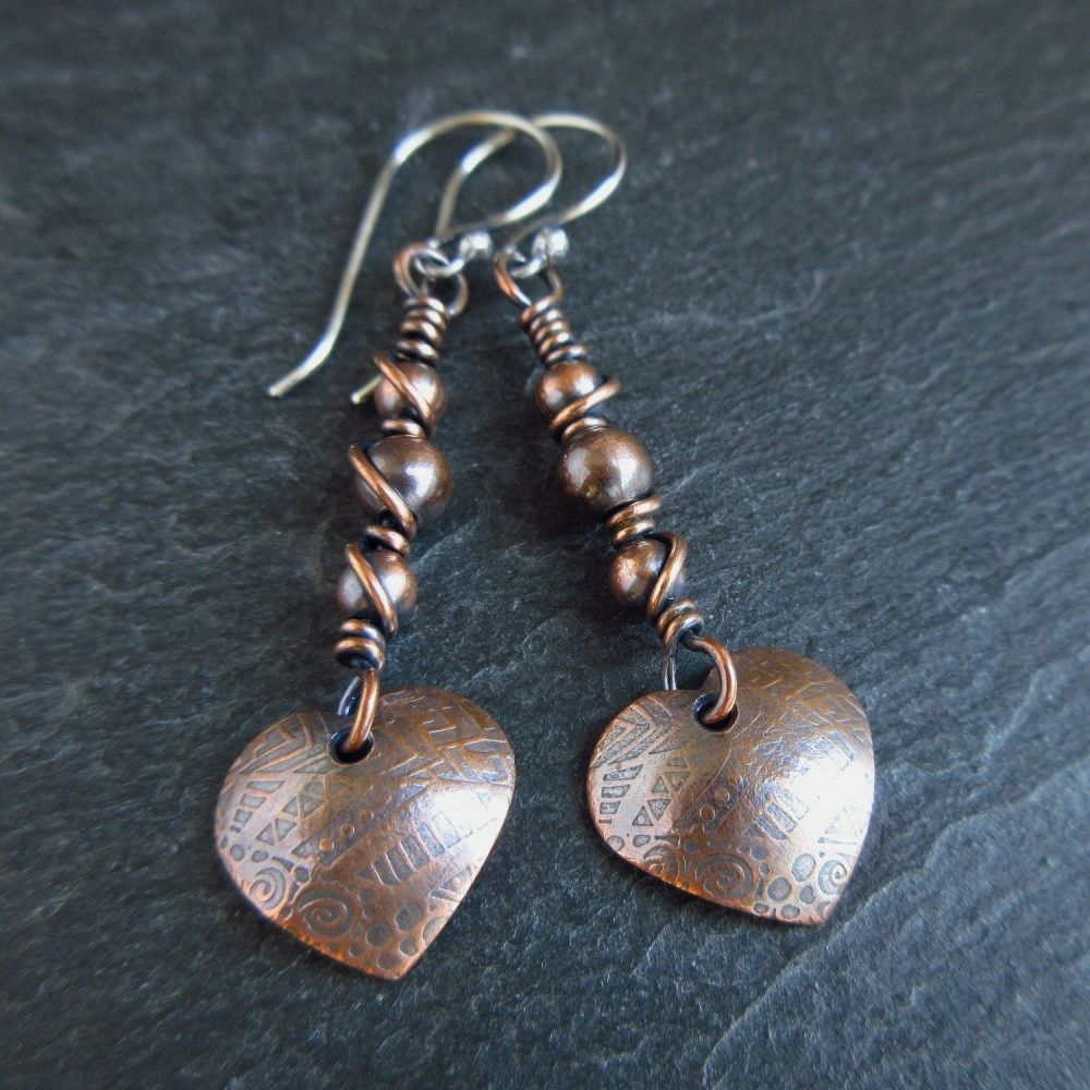 Romantic Copper Heart Earrings with Copper Beads