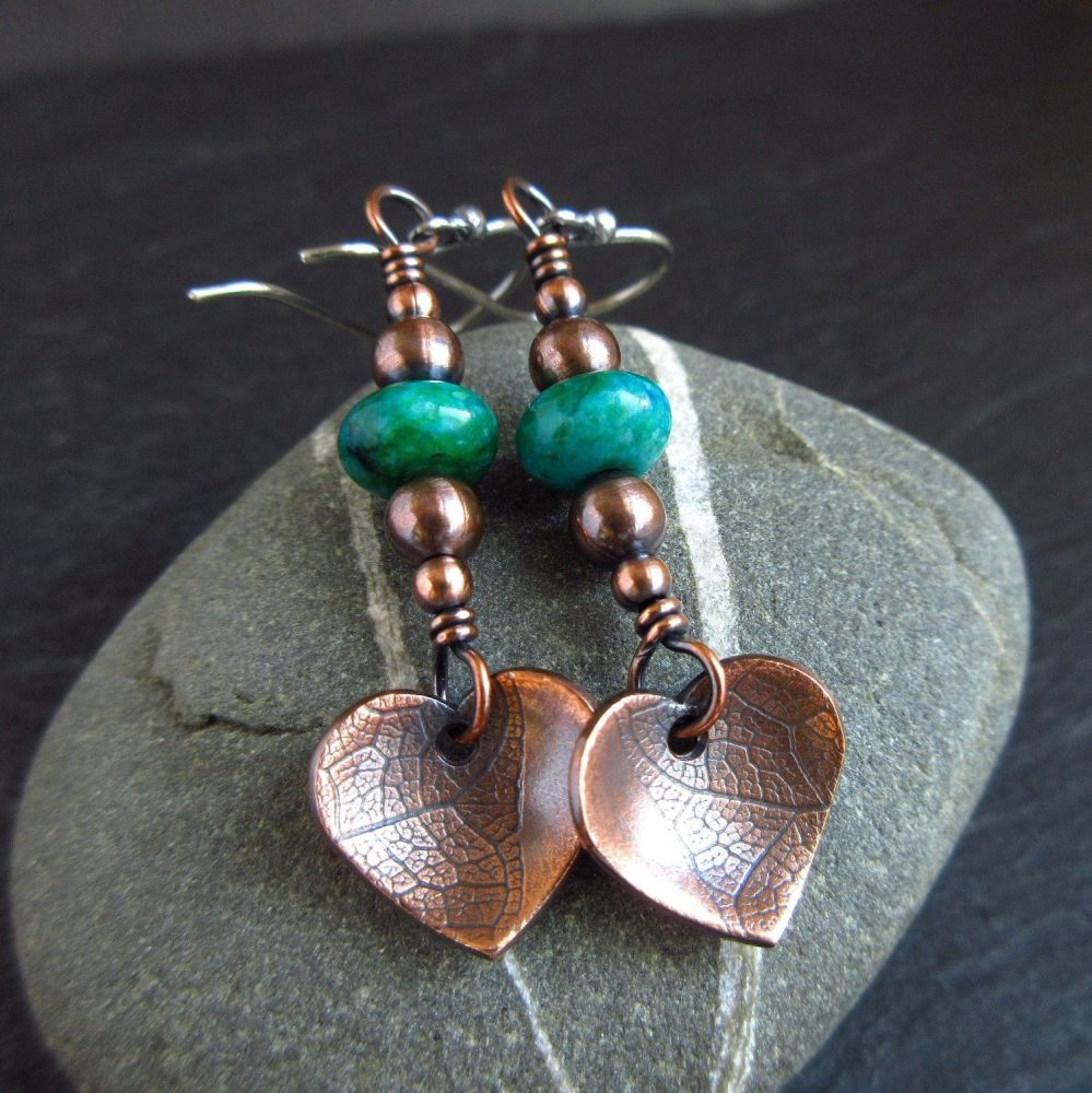 Copper Heart and Blue Bead Earrings