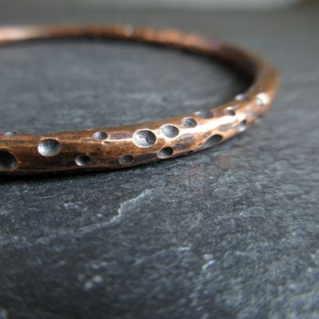 Ladies Copper Bangle with Rustic Dot Pattern
