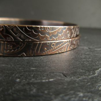 Set of Two Patterned Bronze Bangles For Women