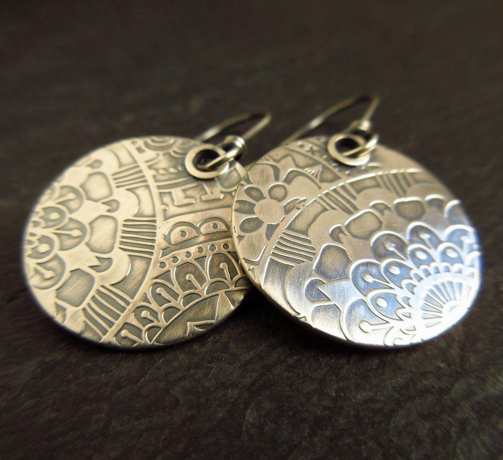 Sterling Silver Embossed Disc Earrings
