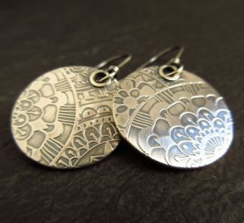 Sterling Silver Embossed Disc Earrings