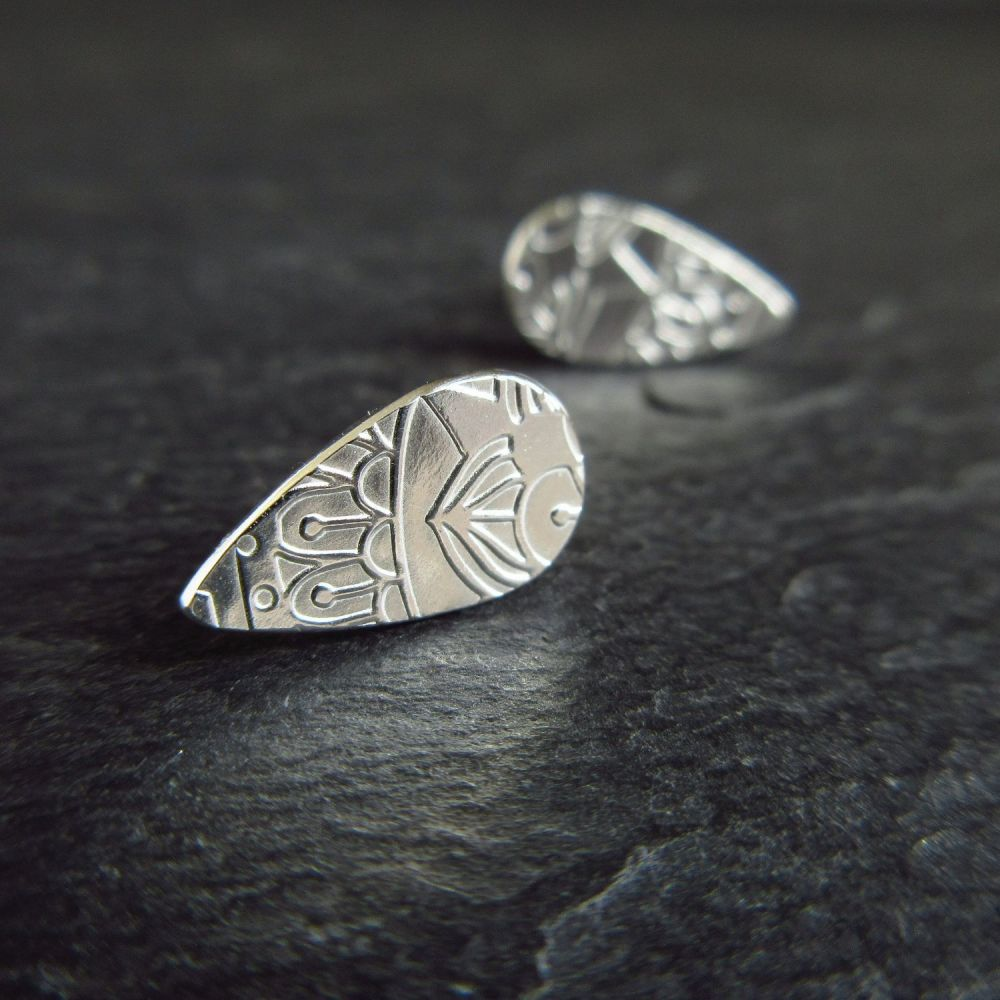 Teardrop Shape Sterling Silver Studs with Doodle Style Pattern