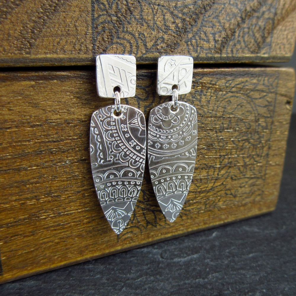 Sterling Silver Studs with Bullet Shape Dangle