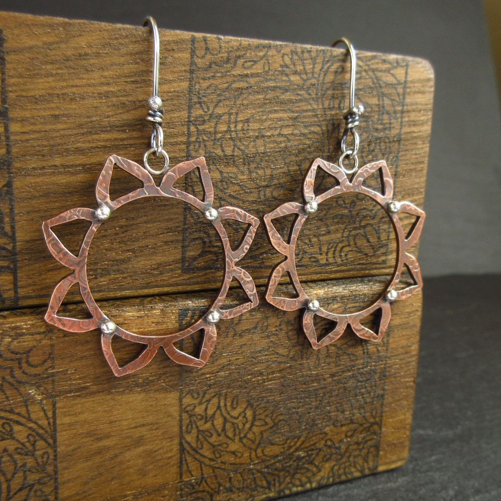 Mandala Flower Copper Earrings with Silver Ball Decoration
