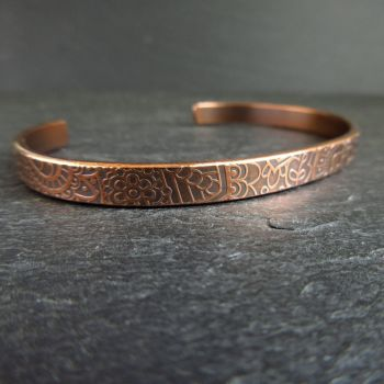 Copper Cuff Bracelet with Doodle Flower Pattern - Engraving option