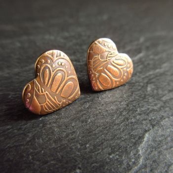 Bronze Heart Shape Earrings with Petal Pattern