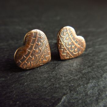 Bronze Heart Shape Earrings with Arrow and Zigzag Pattern