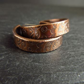 Bronze Hoop Earrings with Doodle Pattern