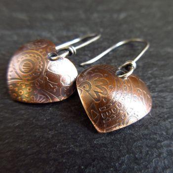 Bronze Heart Earrings with Sterling Silver Earwires