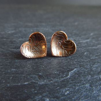 Copper Heart Shape Stud Earrings with Pattern For Women