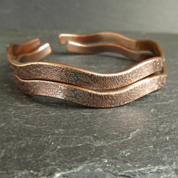 Two Patterned Wavy Bronze Bangles Open Design