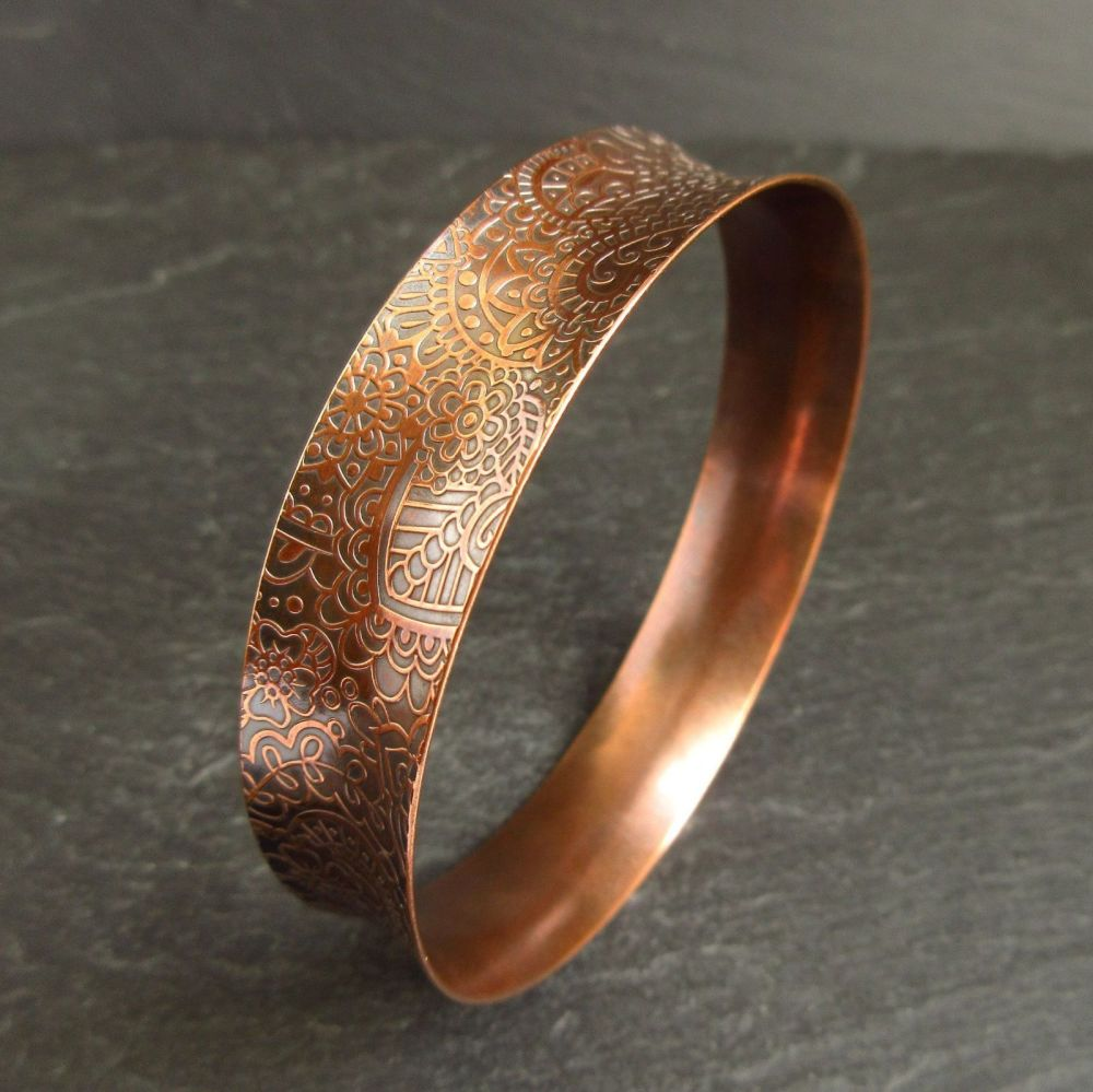 Curved Copper Bangle with Embossed Doodle Pattern