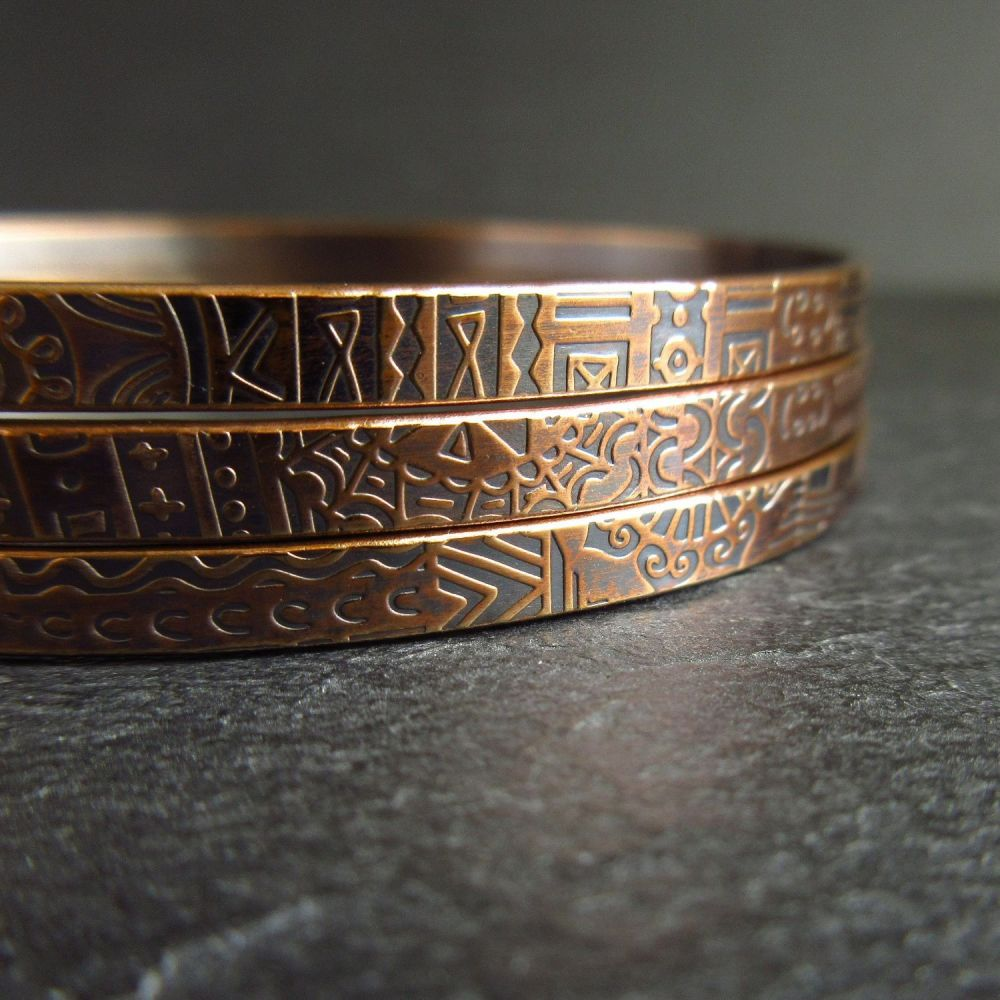 Set of Three Patterned Bronze Bangles For Women