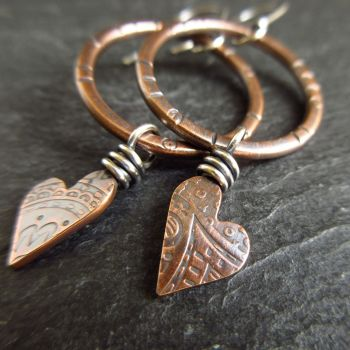 Bronze Hoop Earrings with Heart Dangle
