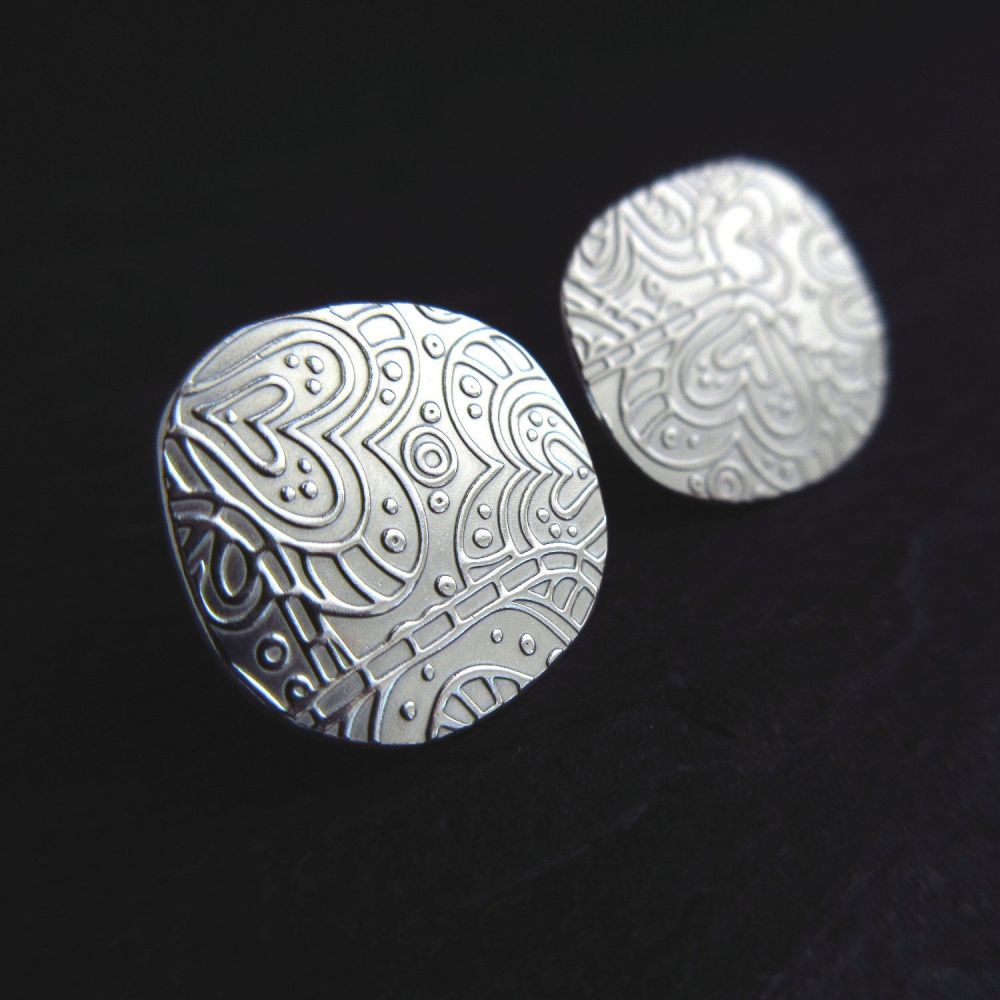 Sterling Silver Pebble Studs with Heart  Pattern
