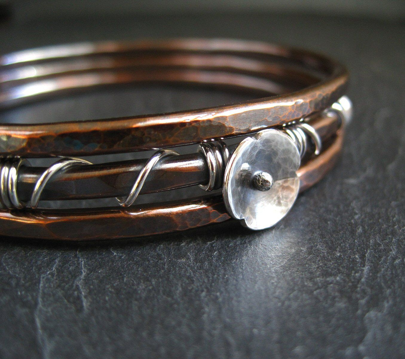 copper bangles with silver poppy