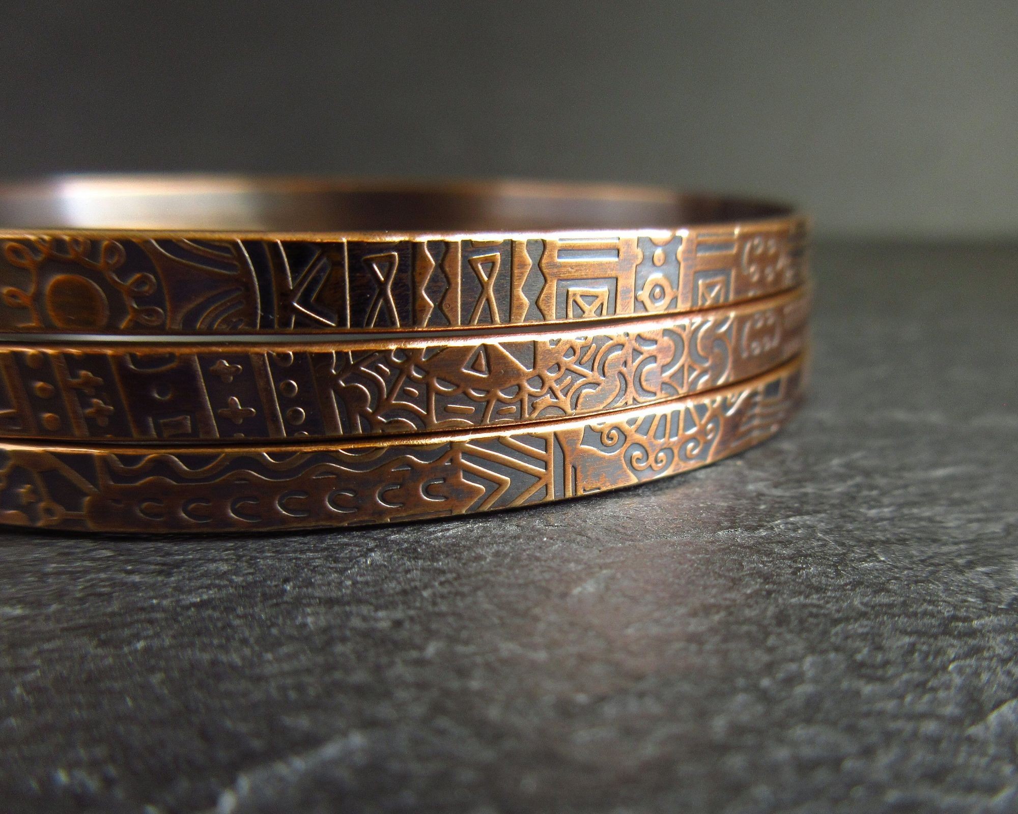 Patterned bronze bangles