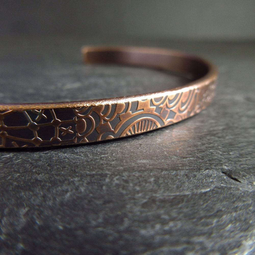 Handmade Bronze Cuff Bracelet with Pattern Detail - Engraving option