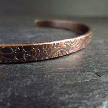 Handmade Bronze Cuff Bracelet with Pattern Detail