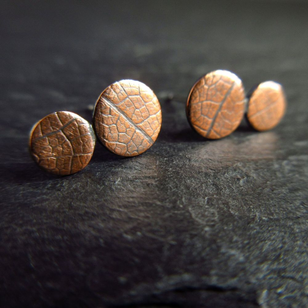 Double Disc Copper Stud Earrings Leaf Vein Texture