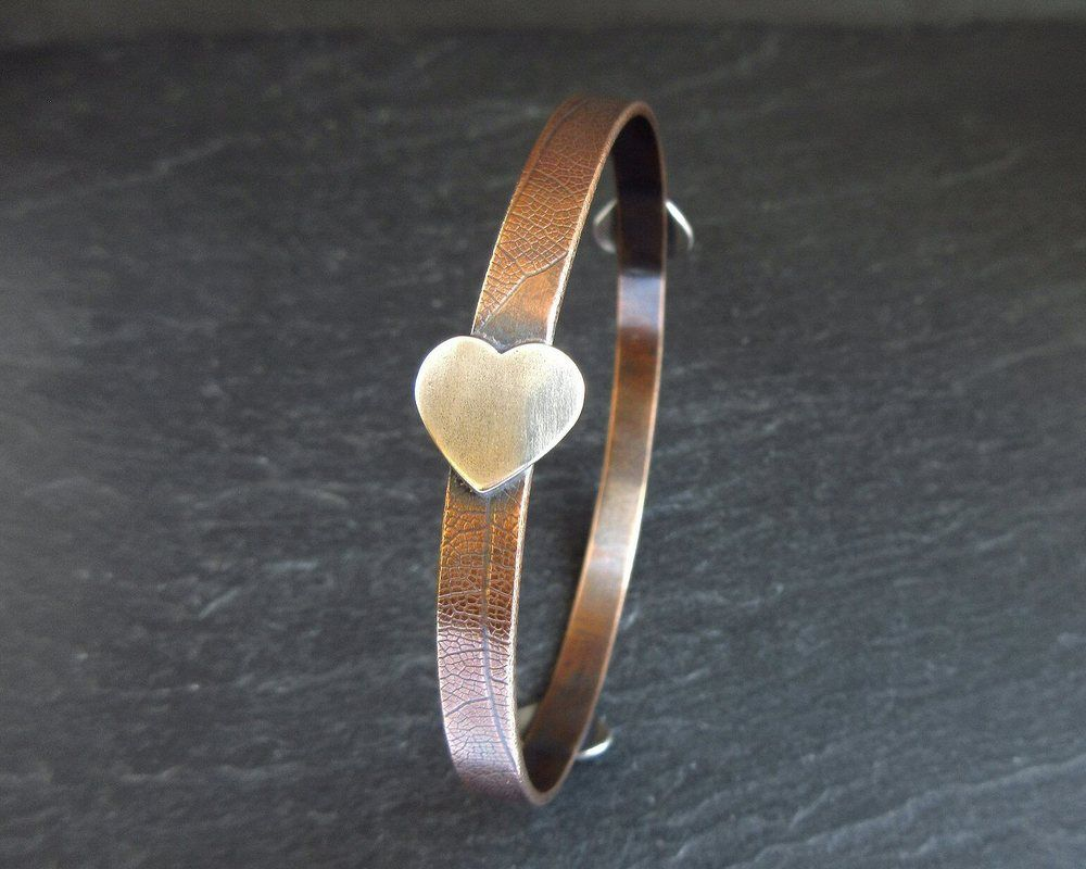 bronze silver heart bangle