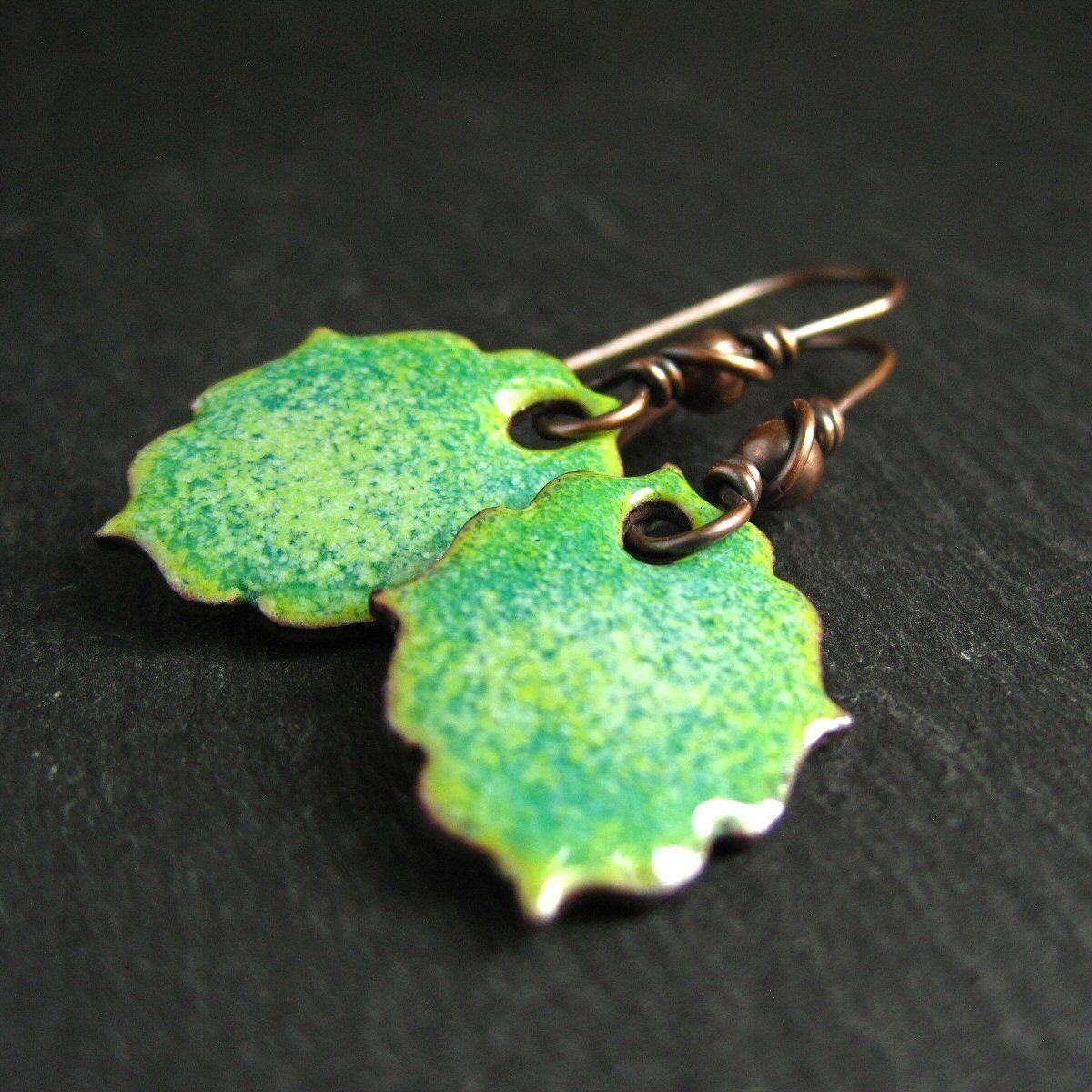 green speckled enamel earrings
