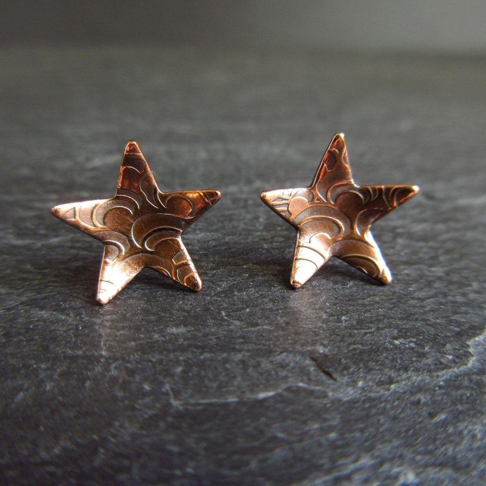 Copper Stud Earrings Star Shape with Pattern