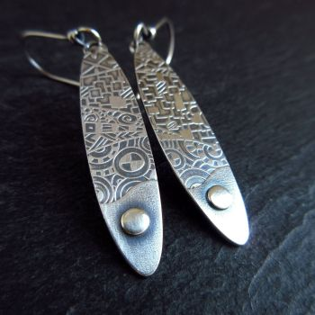 Sterling Silver Oval Earrings with Silver Dot and Pattern Texture