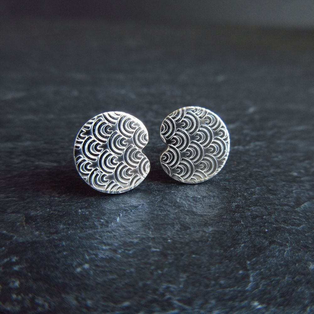 Sterling Silver Lily Pad Stud Earrings Art Deco Pattern