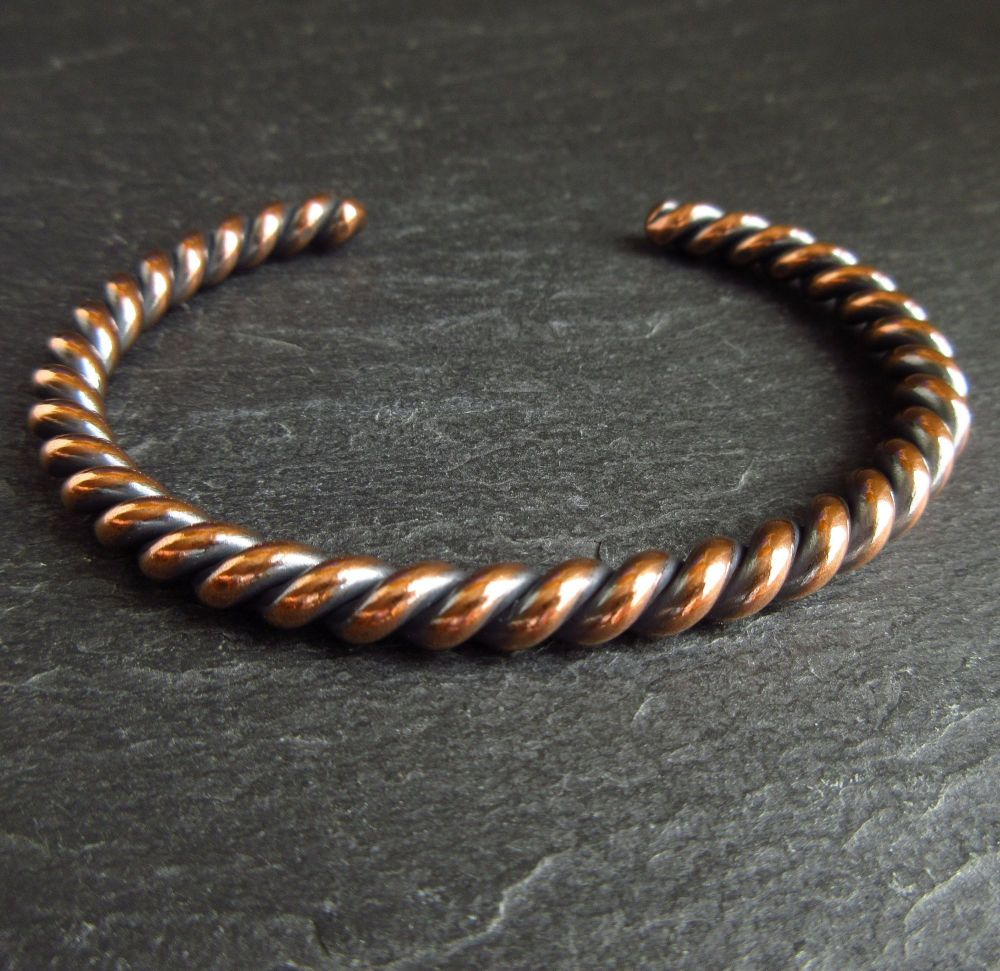 Twisted Copper Cuff Bracelet for Women & Men