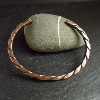 Square Twisted Copper Cuff Bracelet for Women & Men