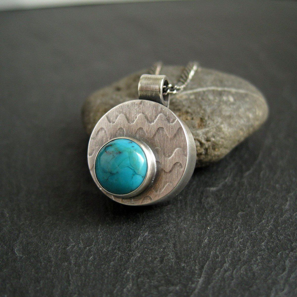 turquoise and silver  hollowform pendant