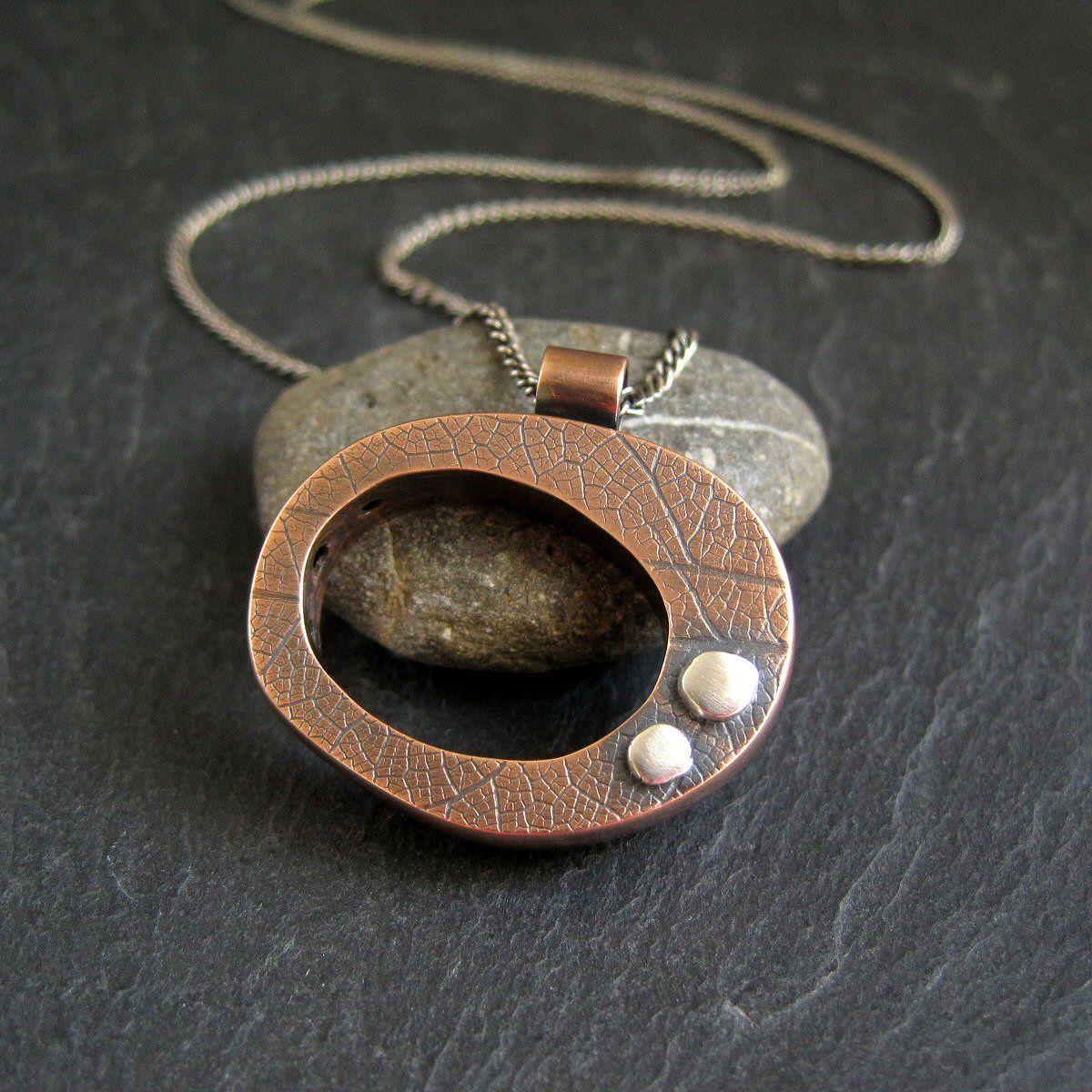 copper hollow form pendant