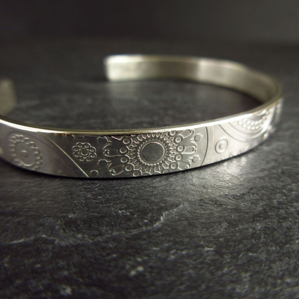 Sterling Silver Cuff Bracelet with Paisley Design