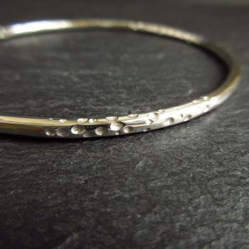 Sterling Silver Bangle with Dot Pattern