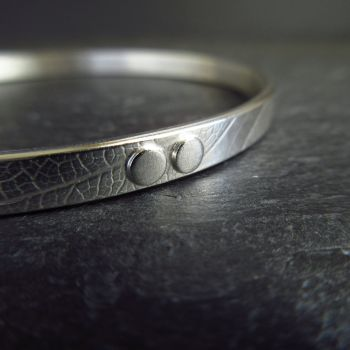 Sterling Silver Bangle with Silver Dots and Leaf Vein Texture