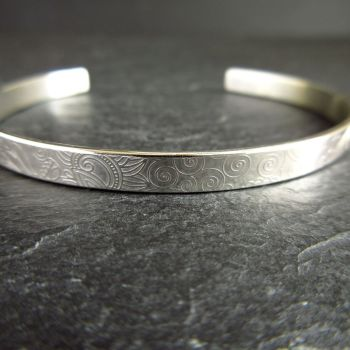 Sterling Silver Cuff Bracelet with Spiral Doodle Pattern