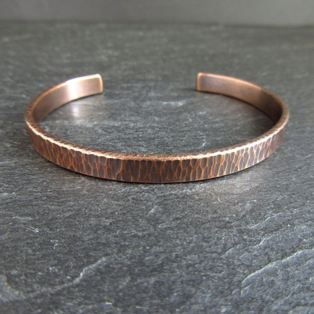Bronze Cuff Bracelet with Hammered Bark Texture - Engraving option