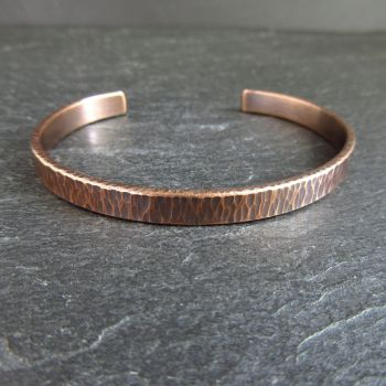 Bronze Cuff Bracelet with Hammered Bark Texture