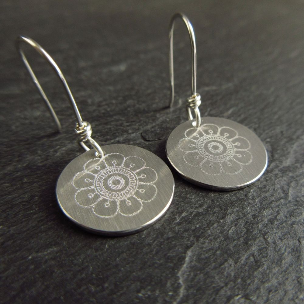 Stainless Steel Disc Earrings with Daisy Design