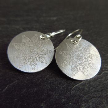 Stainless Steel Disc Earrings with Flower Design
