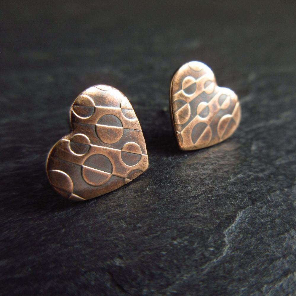 Bronze Heart Shape Earrings with Embossed Design
